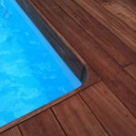 Iroko decking by the pool