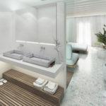 Iroko παρκέ σε μπάνιο και Υπνοδωμάτιο - Mykonos Palace Hotel.